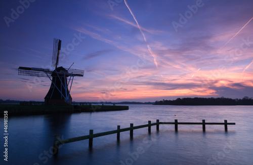 Windmill autumn sunset