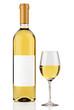 White wine bottle isolated on white