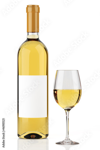 White wine bottle isolated on white