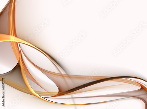 Abstract gold fractal waves on white background