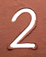 Number 2 made of cocoa powder