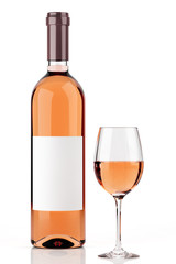 Rosé wine bottle isolated on white 2