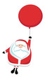 Cartoon Santa flying on red balloon
