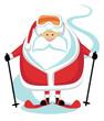 Cartoon Santa Skier