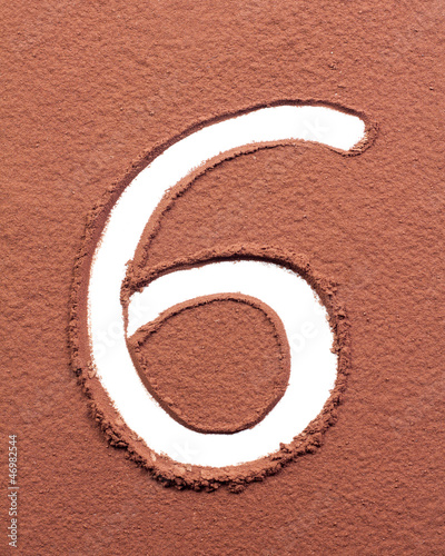 Number 6 made of cocoa powder