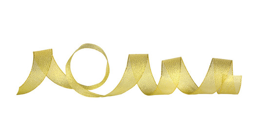 Gold horizontal ribbon on the white isolated background