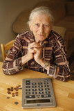 Portrait of senior woman with money and calculator