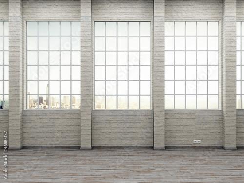 modernes Industrie Loft Sprossenfenster gemauerte Wand
