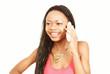Happy girl chatting on phone