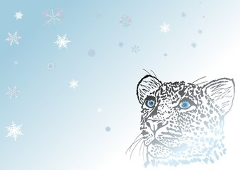 Schneeleopard mit Schneeflocken