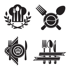 monochrome icons with dish, knife and fork