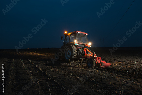 plowing at night