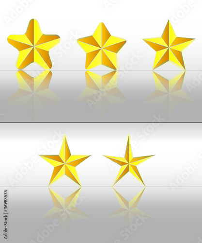 three dimensional golden stars with reflection vector set