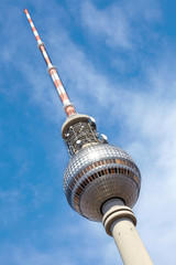 Tv tower on blue sky in Alexanderplatz, Berlin