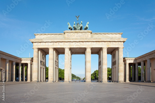 Brandenburg gate, blue sky, Berlin, Germany