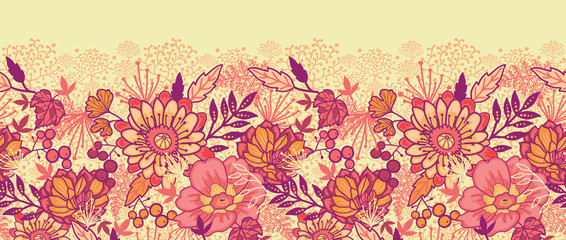 Vector gold and red autumn flowers elegant horizontal seamless