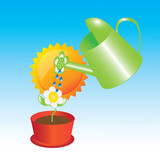 Illustration of can watering a flower