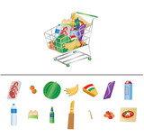 Vector illustration of groceries in a shopping cart