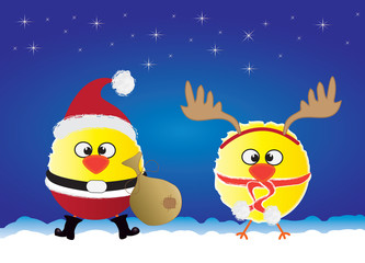 Vector illustration of funny Santa Claus and Reindeer chicks