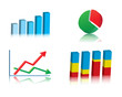 Set of colorful basic business graphs, charts. Vector