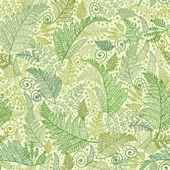 Vector Line Art Fern Leaves Seamless Pattern Background with