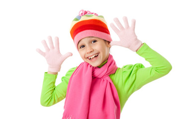 Funny girl in winter clothes