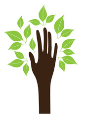 vector hand with green leaves