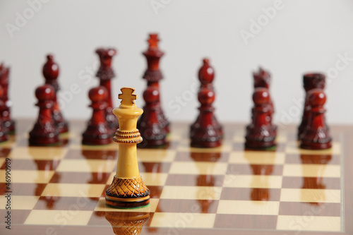 Chess king alone in danger