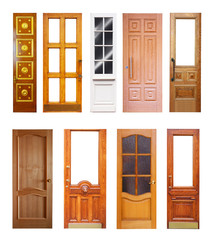 Set of wooden doors. Isolated on white