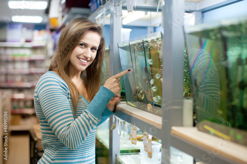 Woman  in petshop