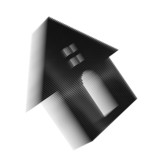 Black pixel icon-like image of house with roundish door and wind