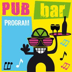 enseigne, logo, bar, pub, serveur, café, danseur, joie