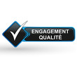 engagement qualité sur bouton web carré design bleu