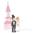 Wedding invitation with funny bride and groom and church