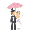 Wedding invitation with funny bride and groom under the umbrella