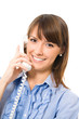 Happy business woman with phone, isolated