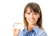 Happy businesswoman with blank business card