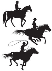 Cowboy rancher silhouettes