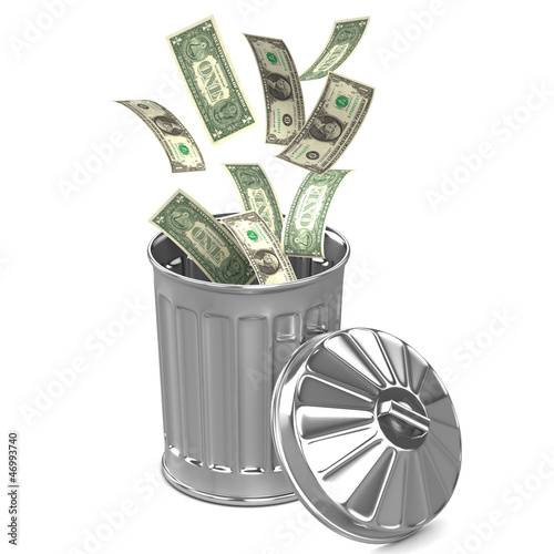 Throwing money in the garbage can