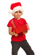 Child boy with open gift