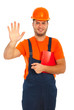 Happy worker showing five fingers