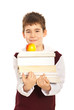 Student boy carrying books