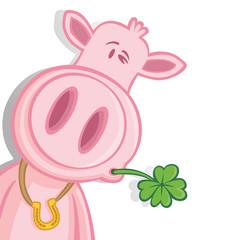 Glücksschwein zwinkert