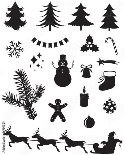 剪影圣诞老人圣诞节弓插图收集漫画球礼物糖果圣诞老人蜡烛袋设置赛季