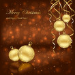 Christmas balls on brown background