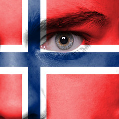 Norway flag painted on face