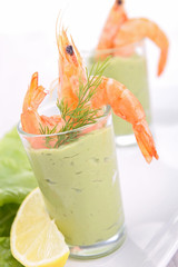 appetizer, avocado cream and shrimp