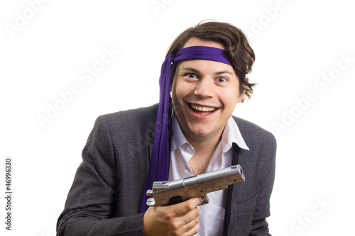 Mad Business Man with Gun