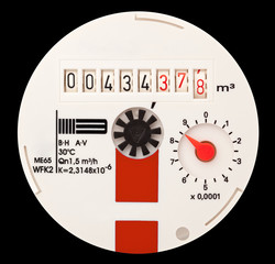 Water meter. It is isolated on a black background.