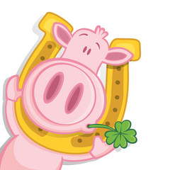 Schwein mit Hufeisen